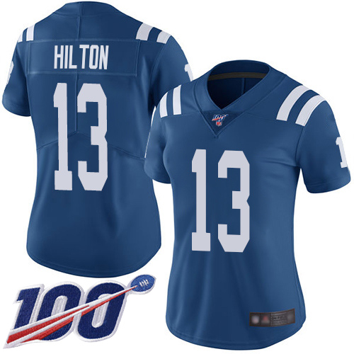 Nike Colts #13 T.Y. Hilton Royal Blue Team Color Women's Stitched NFL 100th Season Vapor Limited Jersey