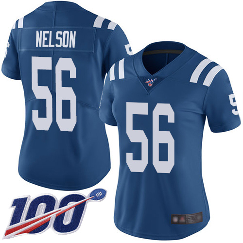 Nike Colts #56 Quenton Nelson Royal Blue Team Color Women's Stitched NFL 100th Season Vapor Limited Jersey