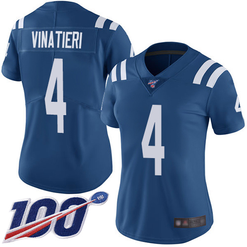 Nike Colts #4 Adam Vinatieri Royal Blue Team Color Women's Stitched NFL 100th Season Vapor Limited Jersey