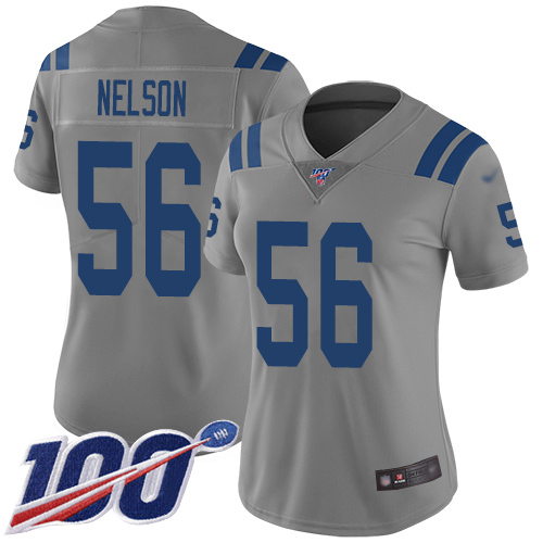 Nike Colts #56 Quenton Nelson Gray Women's Stitched NFL Limited Inverted Legend 100th Season Jersey