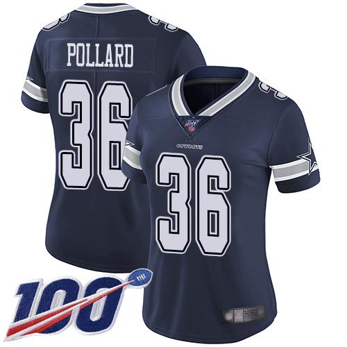 Nike Cowboys #36 Tony Pollard Navy Blue Team Color Women's Stitched NFL 100th Season Vapor Limited Jersey
