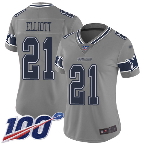 Nike Cowboys #21 Ezekiel Elliott Gray Women's Stitched NFL Limited Inverted Legend 100th Season Jersey