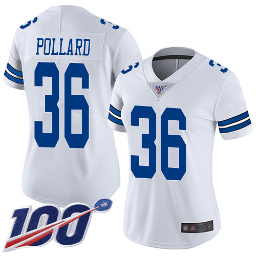 Nike Cowboys #36 Tony Pollard White Women's Stitched NFL 100th Season Vapor Limited Jersey