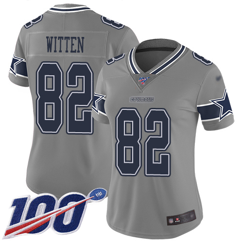 Nike Cowboys #82 Jason Witten Gray Women's Stitched NFL Limited Inverted Legend 100th Season Jersey