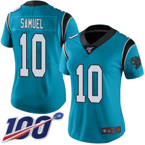Nike Panthers #10 Curtis Samuel Blue Alternate Women's Stitched NFL 100th Season Vapor Limited Jersey