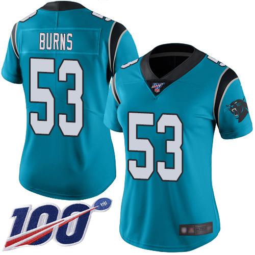 Nike Panthers #53 Brian Burns Blue Alternate Women's Stitched NFL 100th Season Vapor Limited Jersey