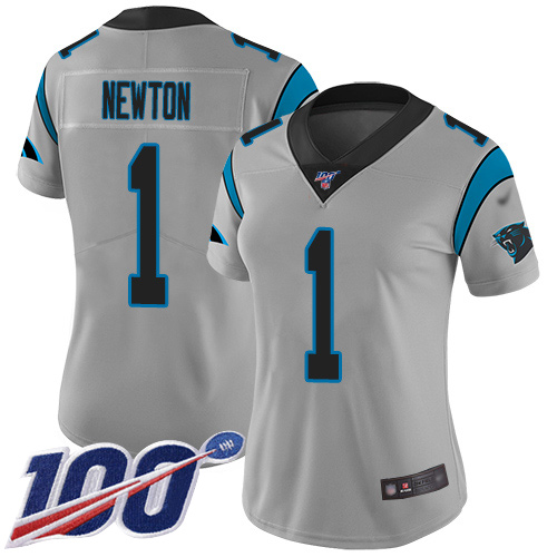 Nike Panthers #1 Cam Newton Silver Women's Stitched NFL Limited Inverted Legend 100th Season Jersey