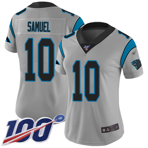 Nike Panthers #10 Curtis Samuel Silver Women's Stitched NFL Limited Inverted Legend 100th Season Jersey
