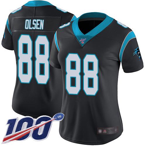 Nike Panthers #88 Greg Olsen Black Team Color Women's Stitched NFL 100th Season Vapor Limited Jersey