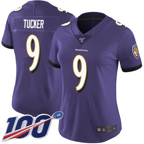 Nike Ravens #9 Justin Tucker Purple Team Color Women's Stitched NFL 100th Season Vapor Limited Jersey