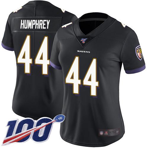 Nike Ravens #44 Marlon Humphrey Black Alternate Women's Stitched NFL 100th Season Vapor Limited Jersey