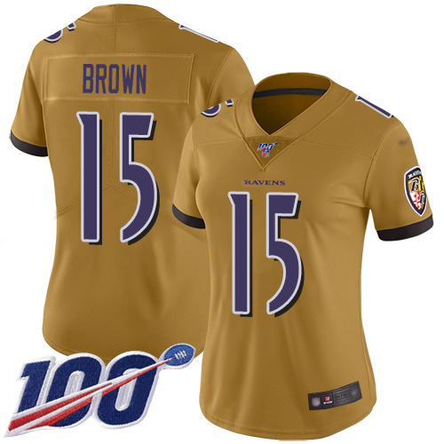 Nike Ravens #15 Marquise Brown Gold Women's Stitched NFL Limited Inverted Legend 100th Season Jersey