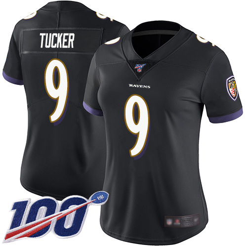 Nike Ravens #9 Justin Tucker Black Alternate Women's Stitched NFL 100th Season Vapor Limited Jersey