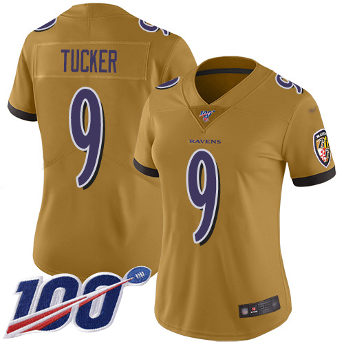 Nike Ravens #9 Justin Tucker Gold Women's Stitched NFL Limited Inverted Legend 100th Season Jersey