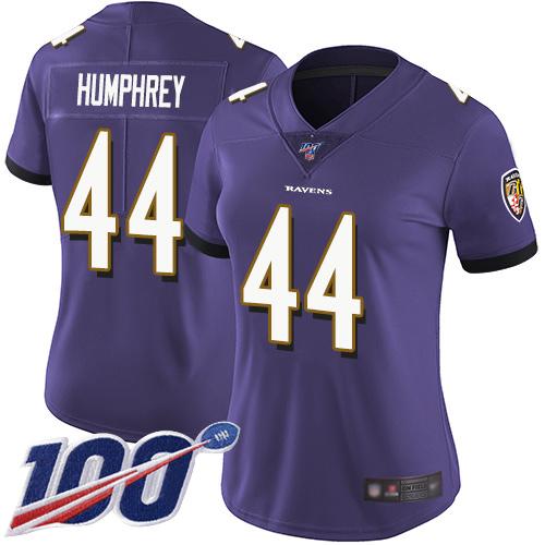 Nike Ravens #44 Marlon Humphrey Purple Team Color Women's Stitched NFL 100th Season Vapor Limited Jersey