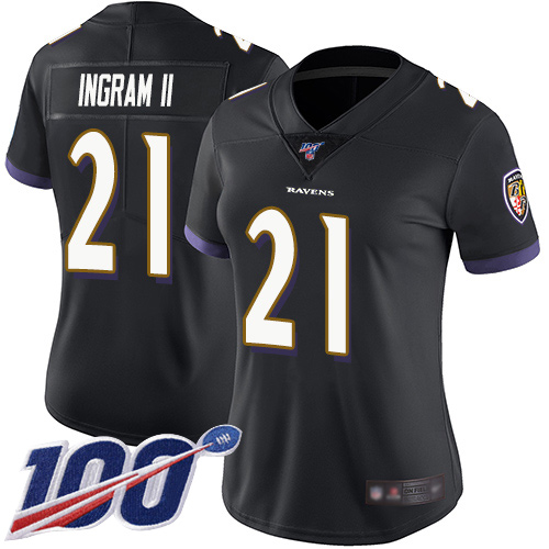 Nike Ravens #21 Mark Ingram II Black Alternate Women's Stitched NFL 100th Season Vapor Limited Jersey