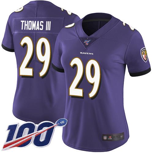 Nike Ravens #29 Earl Thomas III Purple Team Color Women's Stitched NFL 100th Season Vapor Limited Jersey