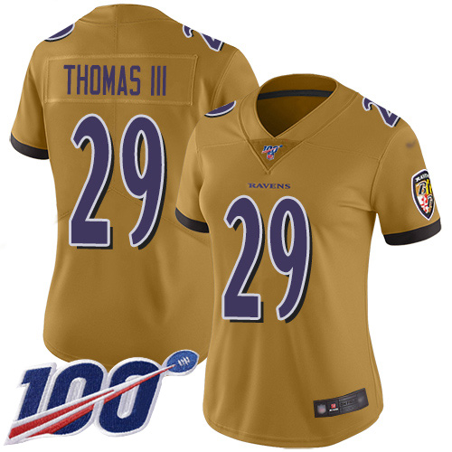Nike Ravens #29 Earl Thomas III Gold Women's Stitched NFL Limited Inverted Legend 100th Season Jersey