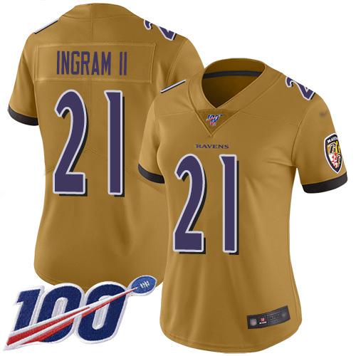 Nike Ravens #21 Mark Ingram II Gold Women's Stitched NFL Limited Inverted Legend 100th Season Jersey