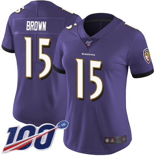 Nike Ravens #15 Marquise Brown Purple Team Color Women's Stitched NFL 100th Season Vapor Limited Jersey