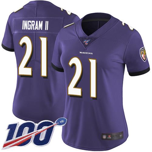 Nike Ravens #21 Mark Ingram II Purple Team Color Women's Stitched NFL 100th Season Vapor Limited Jersey
