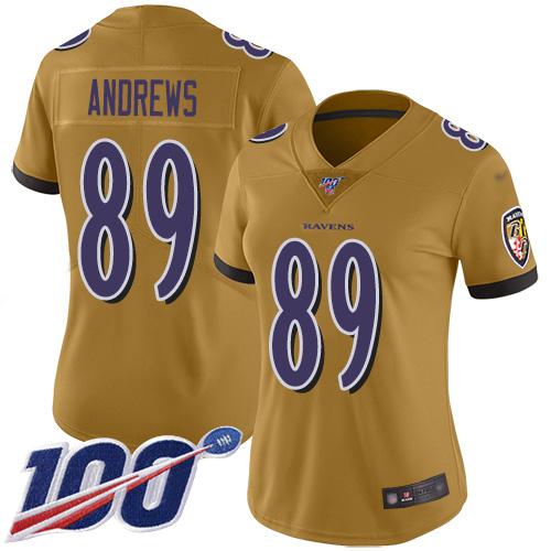 Nike Ravens #89 Mark Andrews Gold Women's Stitched NFL Limited Inverted Legend 100th Season Jersey