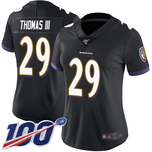 Nike Ravens #29 Earl Thomas III Black Alternate Women's Stitched NFL 100th Season Vapor Limited Jersey
