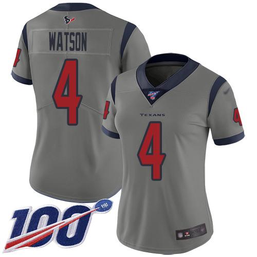 Nike Texans #4 Deshaun Watson Gray Women's Stitched NFL Limited Inverted Legend 100th Season Jersey