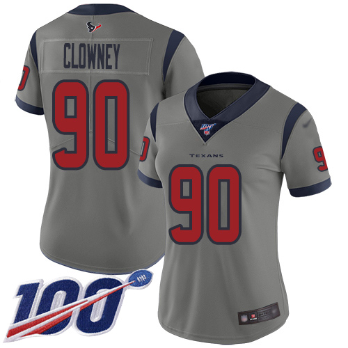 Nike Texans #90 Jadeveon Clowney Gray Women's Stitched NFL Limited Inverted Legend 100th Season Jersey