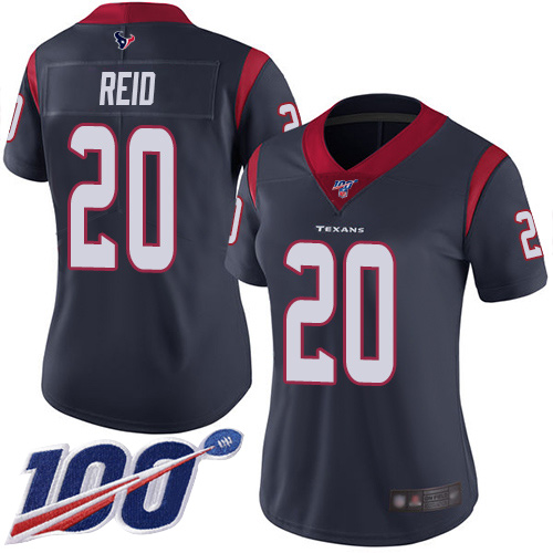Nike Texans #20 Justin Reid Navy Blue Team Color Women's Stitched NFL 100th Season Vapor Limited Jersey