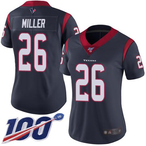 Nike Texans #26 Lamar Miller Navy Blue Team Color Women's Stitched NFL 100th Season Vapor Limited Jersey