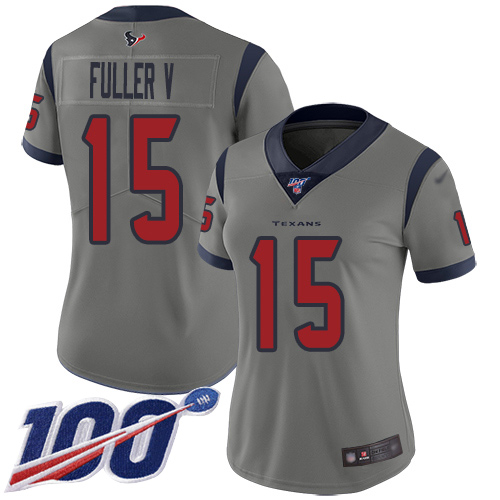 Nike Texans #15 Will Fuller V Gray Women's Stitched NFL Limited Inverted Legend 100th Season Jersey