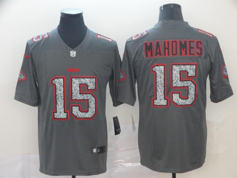 Nike Chiefs 15 Patrick Mahomes Gray Camo Vapor Untouchable Limited Jersey