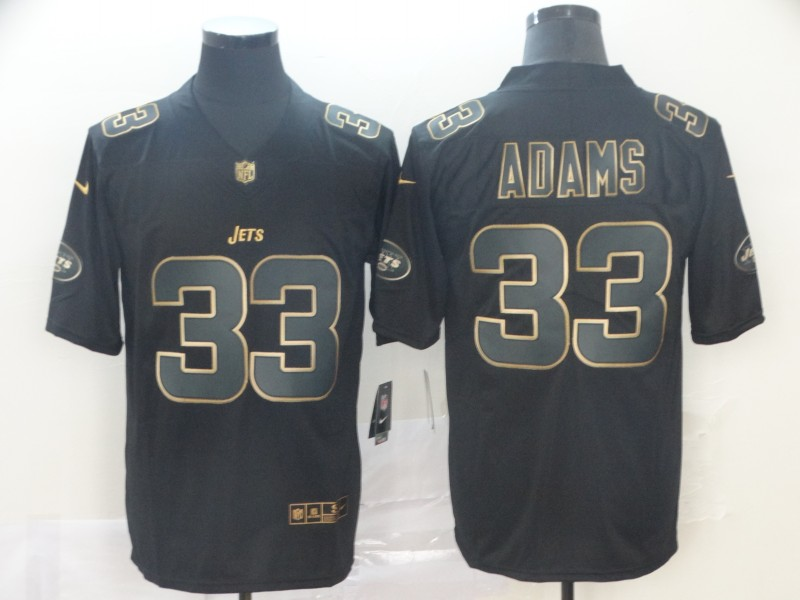 Nike Jets 33 Jamal Adams Black Gold Vapor Untouchable Limited Jersey
