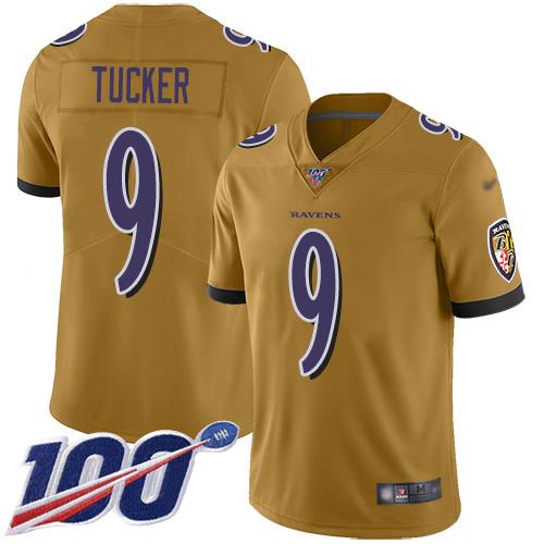 Nike Ravens #9 Justin Tucker Gold Men's Stitched NFL Limited Inverted Legend 100th Season Jersey
