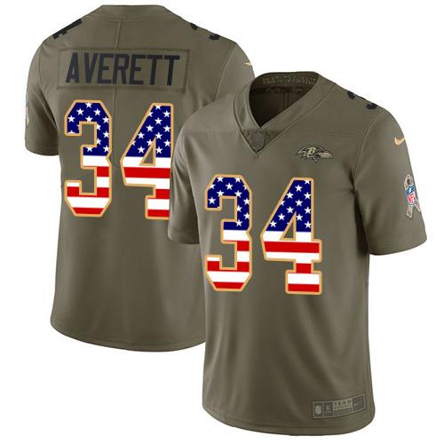 Nike Ravens #34 Anthony Averett Olive USA Flag Men's Stitched NFL Limited 2017 Salute To Service Jersey