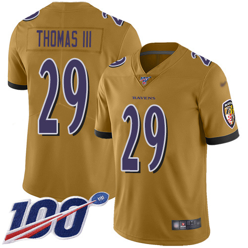 Nike Ravens #29 Earl Thomas III Gold Men's Stitched NFL Limited Inverted Legend 100th Season Jersey