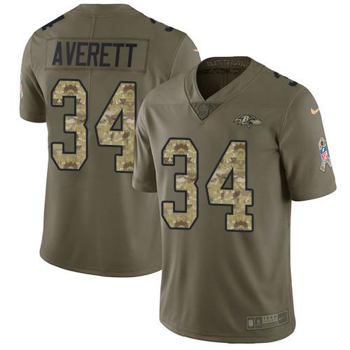 Nike Ravens #34 Anthony Averett Olive Camo Men's Stitched NFL Limited 2017 Salute To Service Jersey