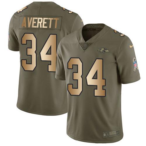 Nike Ravens #34 Anthony Averett Olive Gold Men's Stitched NFL Limited 2017 Salute To Service Jersey