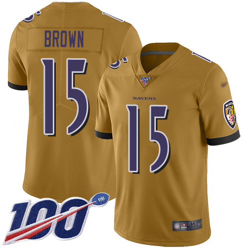 Nike Ravens #15 Marquise Brown Gold Men's Stitched NFL Limited Inverted Legend 100th Season Jersey