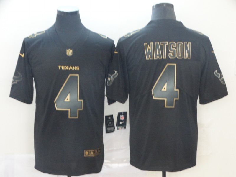 Nike Texans 4 Deshaun Watson Black Gold Vapor Untouchable Limited Jersey