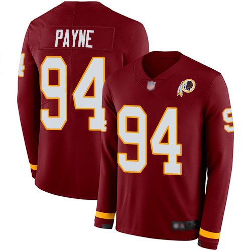 Redskins #94 Da'Ron Payne Burgundy Red Team Color Men's Stitched Football Limited Therma Long Sleeve Jersey
