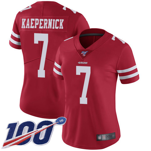 Nike 49ers #7 Colin Kaepernick Red Team Color Women's Stitched NFL 100th Season Vapor Limited Jersey