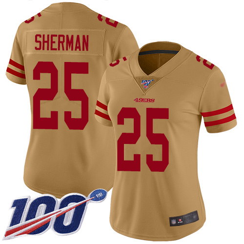 Nike 49ers #25 Richard Sherman Gold Women's Stitched NFL Limited Inverted Legend 100th Season Jersey