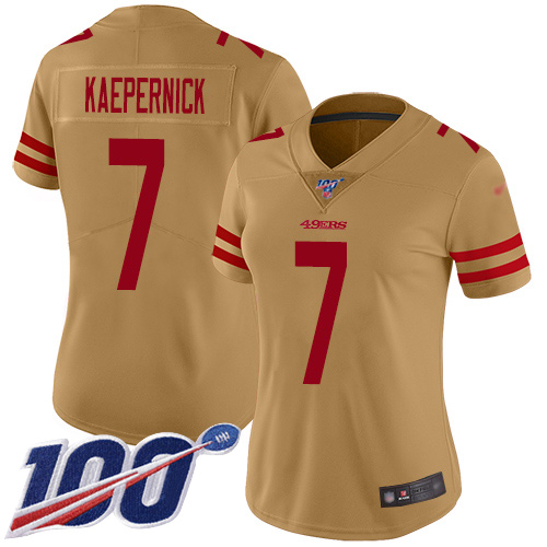 Nike 49ers #7 Colin Kaepernick Gold Women's Stitched NFL Limited Inverted Legend 100th Season Jersey