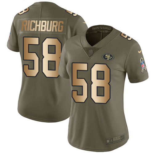 Nike 49ers #58 Weston Richburg Olive Gold Women's Stitched NFL Limited 2017 Salute to Service Jersey