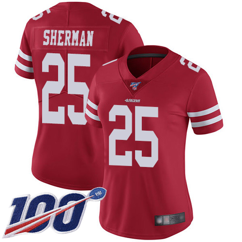 Nike 49ers #25 Richard Sherman Red Team Color Women's Stitched NFL 100th Season Vapor Limited Jersey