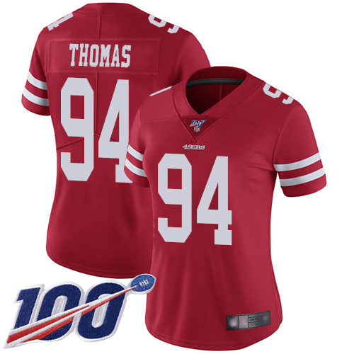 Nike 49ers #94 Solomon Thomas Red Team Color Women's Stitched NFL 100th Season Vapor Limited Jersey