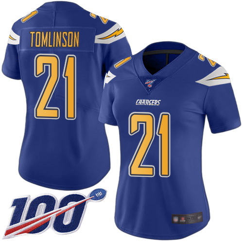 Nike Chargers #21 LaDainian Tomlinson Electric Blue Women's Stitched NFL Limited Rush 100th Season Jersey