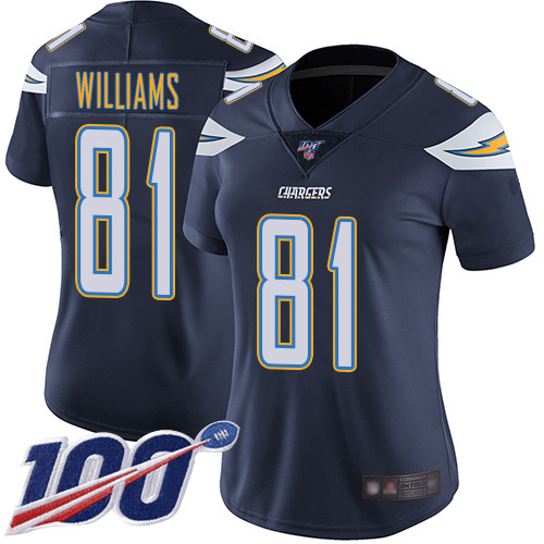 Nike Chargers #81 Mike Williams Navy Blue Team Color Women's Stitched NFL 100th Season Vapor Limited Jersey